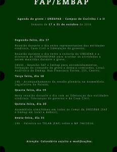 Agenda de greve Fap/Embap 17-21/10